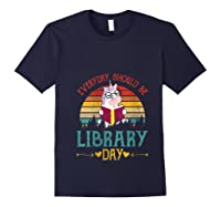 Vintage Everyday Should Be Library Day Unicorn Reading Book T Shirt Navy