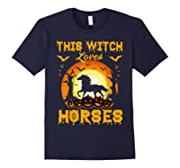 This Witch Loves Horses T-shirt Halloween Cosplay Navy