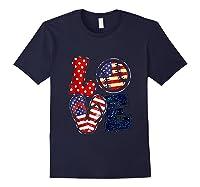 Love Softball Usa Flag 4th Of July Flip Flop Softball Usa Shirts Navy