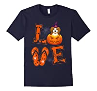 Love Beagle Pumpkin Halloween T-shirt Halloween Gifts Navy