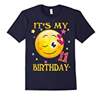 It's My 11th Birthday Girl 11 Years Old Gift Cute Face Shirts Navy