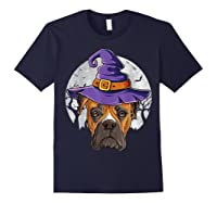 Boxer Witch Hat Funny Halloween Gifts Dog Lover Girls T-shirt Navy