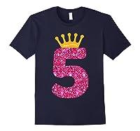 Happy Birthday Shirt, Girls 5th Party 5 Years Old Bday Navy
