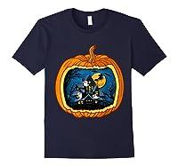 Funny Pumpkin Vintage Halloween Pumpkin Costume Shirts Navy