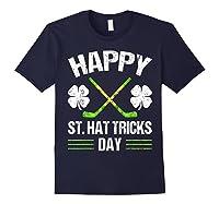 Saint Hattrick S Hockey St Patrick S Day Shamrock T Shirt Navy