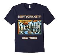 Lotta Shirts New York City Ny Postcard Greetings T Shirt Navy