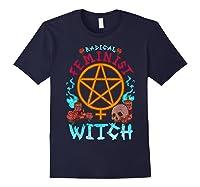Radical Feminist Witch Pentagram Wiccan Resist Impeach T Shirt Navy