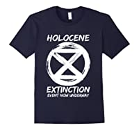 Holocene Mass Extinction Event Symbol Climate Change Science T Shirt Navy