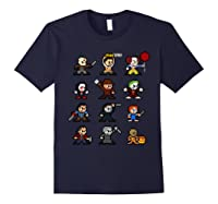 Friends Pixel Halloween Icons Scary Horror Movies Shirts Navy
