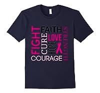 Pink Ribbon Breast Cancer Fighters Survivors Awareness Shirt T Shirt Navy