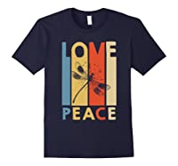 Love Peace Dragonfly Hippie Funny Shirts Navy