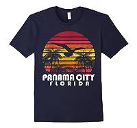Vintage Retro Pa City Fl Florida Sunset Distressed Style T Shirt Navy