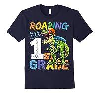 Roaring 1st Grade Dinosaur Back To School Backpack Shirt Boy Navy