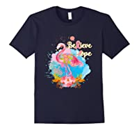 Pink Flamingo Believe Hope Breast Cancer Awareness Month T Shirt Navy