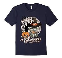 Happy Halloween Cute Cat In Witch Hat Pumpkin Spooky Novelty T Shirt Navy