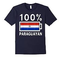 Paraguay Flag T Shirt 100 Paraguayan Battery Power Tee Navy