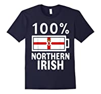 Northern Ireland Flag Shirt 100 Irish Battery Power Tee Navy