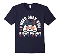 Cat July 4th Independence Day Meow Gift Shirts Navy