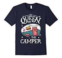 Queen Of The Camper Outdoor Camping Camper Girls Shirts Navy
