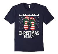 Christmas In July Santa Flip Flop Summer Xmas Gift Shirts Navy