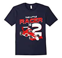 Race Car 2nd Birthday I This Little Racer Is 2 Years Old Shirts Navy