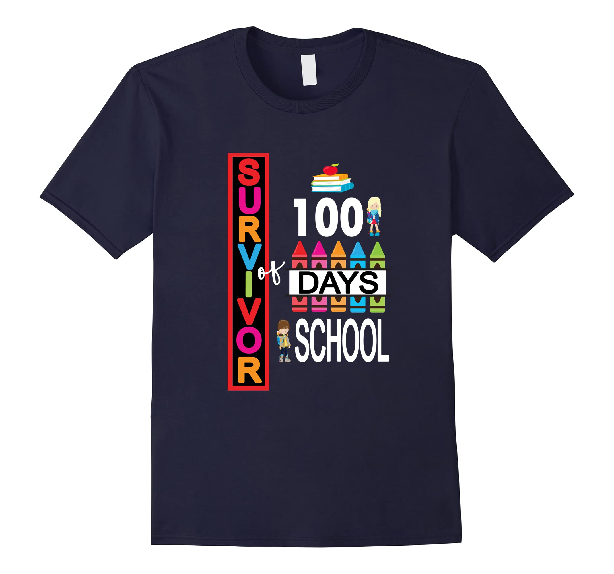 100 Days Of School Shirt For Teachers & Kids Survivor-RT