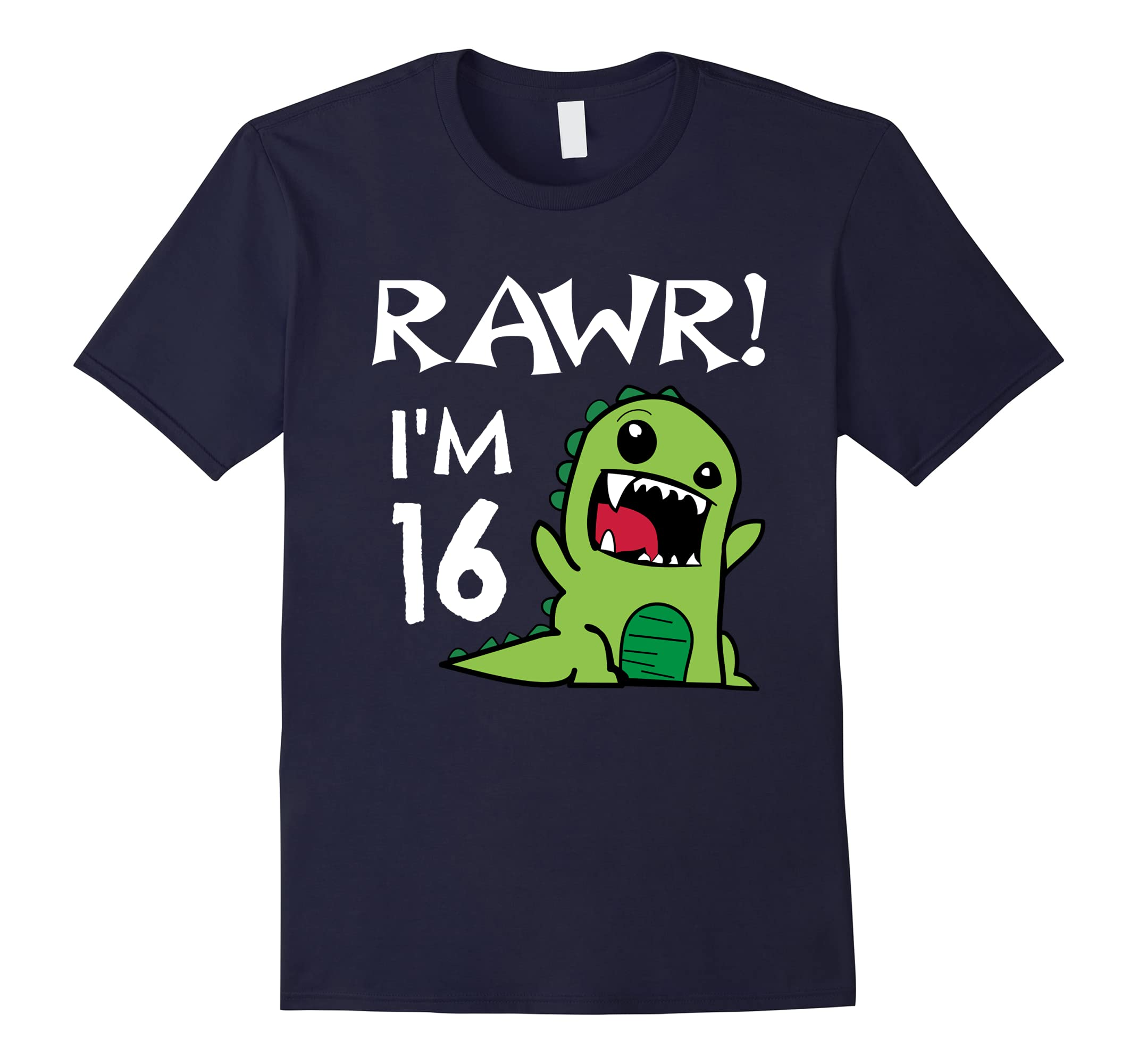 16th Birthday T-Shirt - Sweet 16 Year Old Dinosaur Shirt-RT