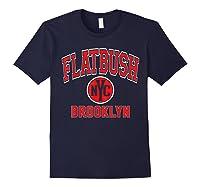Flatbush Varsity Style Nyc Red Print T Shirt Navy