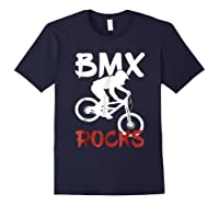 Bmx Riding Rocks T Shirt Cool Dirt Bike Race Stunt Gift Tees Navy