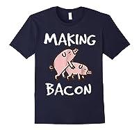 Pigs Making Bacon | Funny Pork Breakfast Shirt | Navy