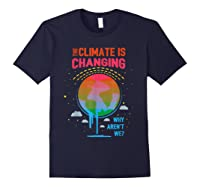 Climate Change Warming Awareness Earth Day T-shirt Navy