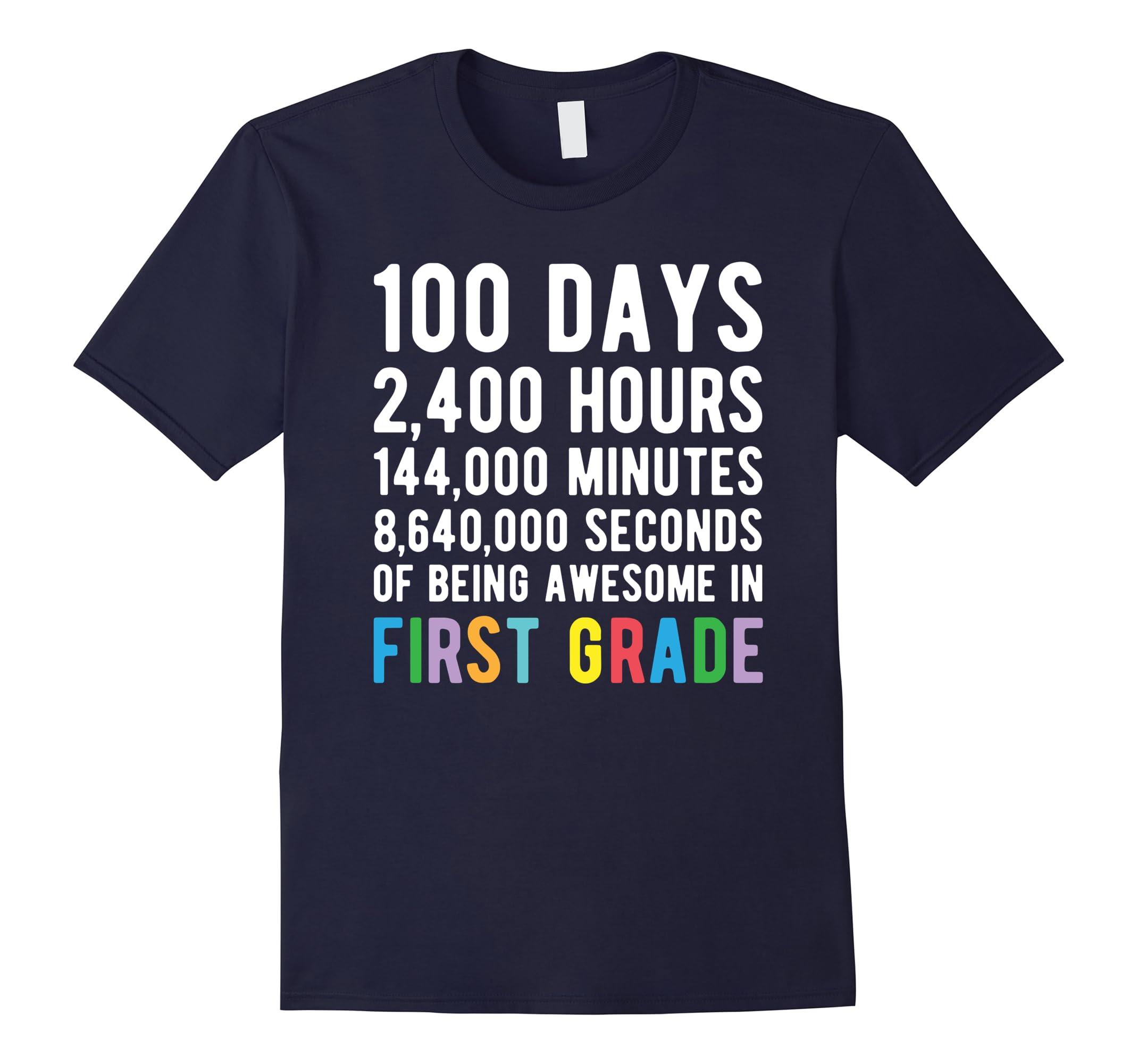 100 Days of School Shirt First Grade 100 Day Countdown-RT