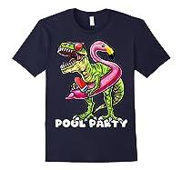 Pool Party T Rex Dinosaur Flamingo Float Summer Gift Shirts Navy