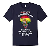 Ancestors Black African American Flag T Shirt Navy