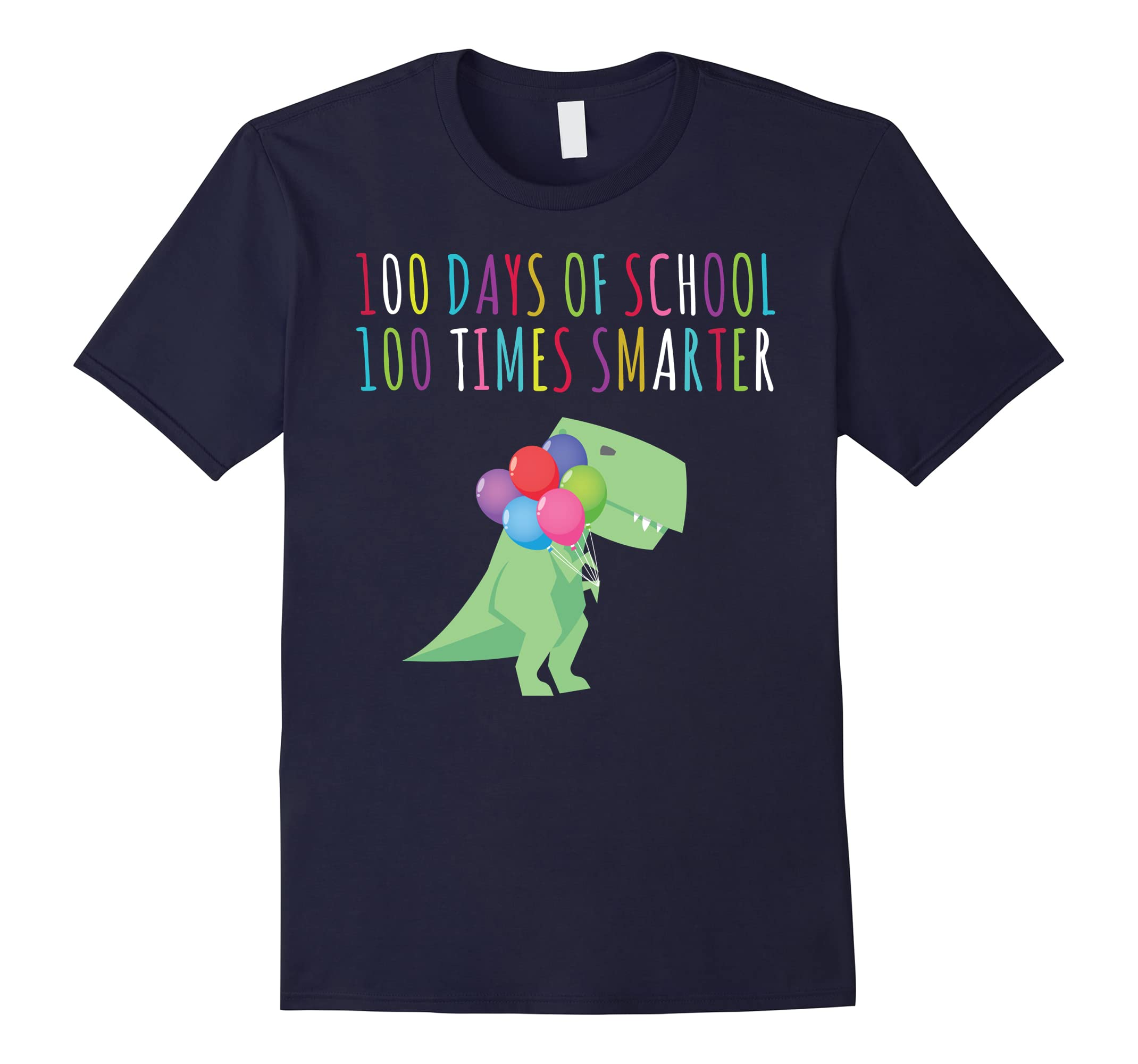 100 Days Of School 100 Times Smarter Dinosaur Shirt Boy-RT