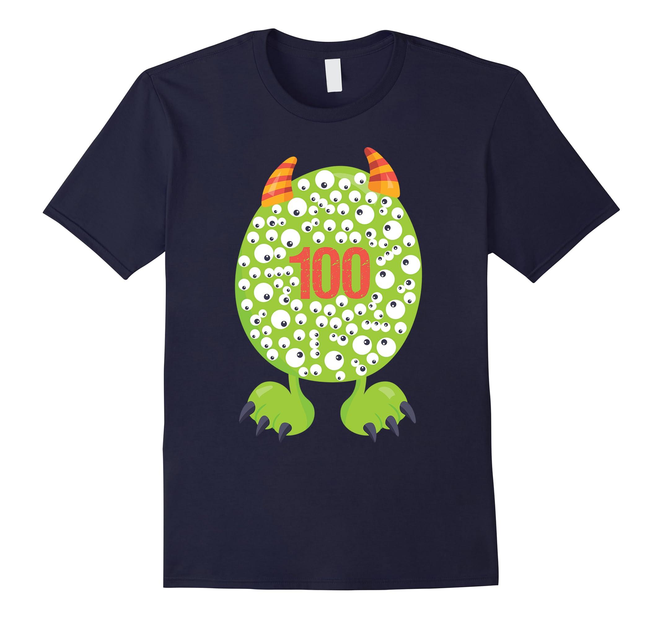 100th Day of School T Shirt Monster Happy 100 Days Kids Boy-RT