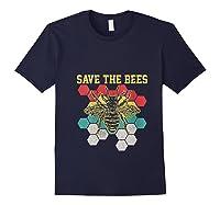 Save The Bees Vintage Retro Beekeeping Beekeeper Gift Shirts Navy