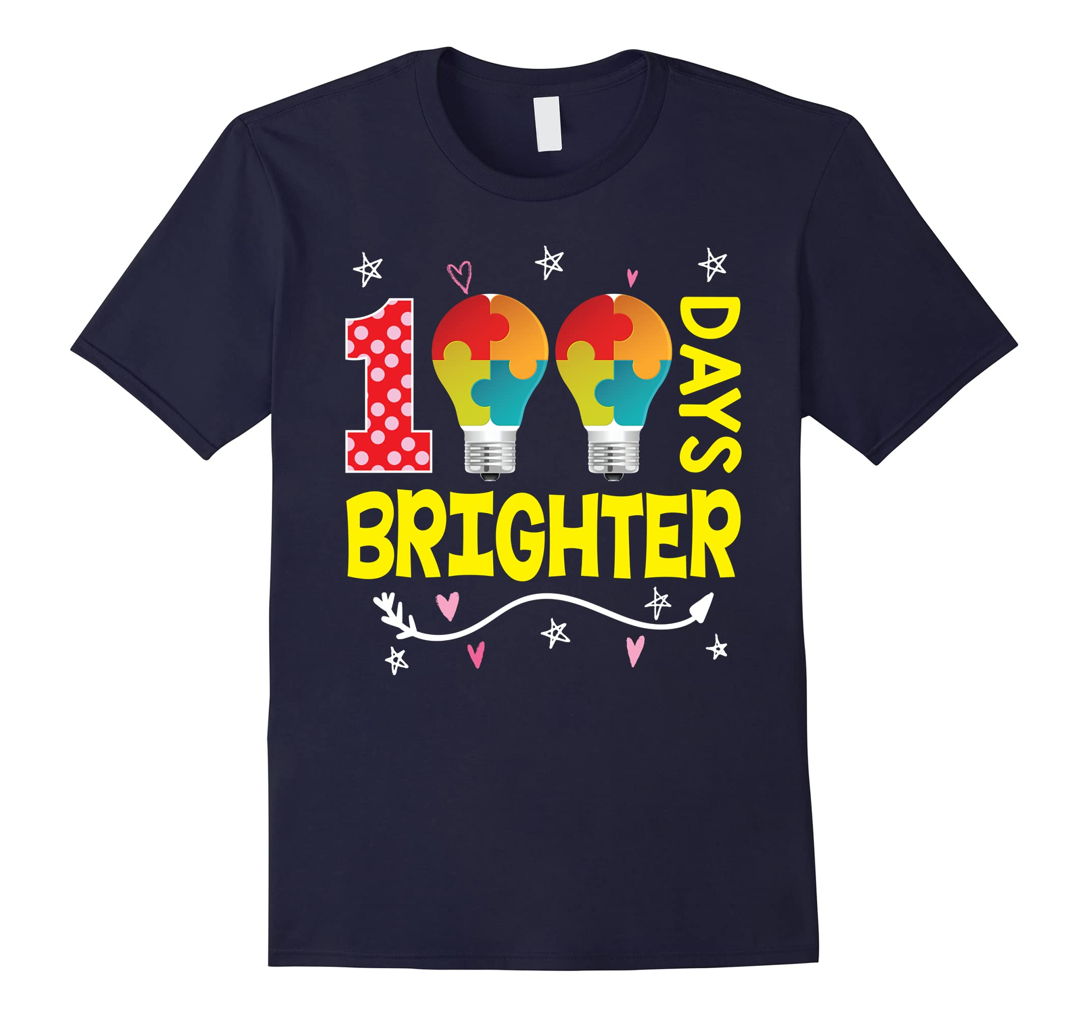 100 Days Brighter 100th Day Teachers and Kids T-Shirt 3-RT