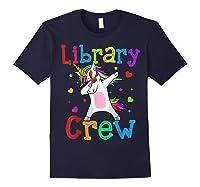 Library Crew Dabbing Unicorn 1st Day Of School Shirts Navy