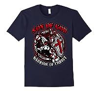 Knights Templar Tshirt Son Of God Warrior Of Christ Navy