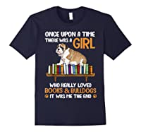 There Was A Girl Loved Book And Bulldogs Tshirt Gifts Navy