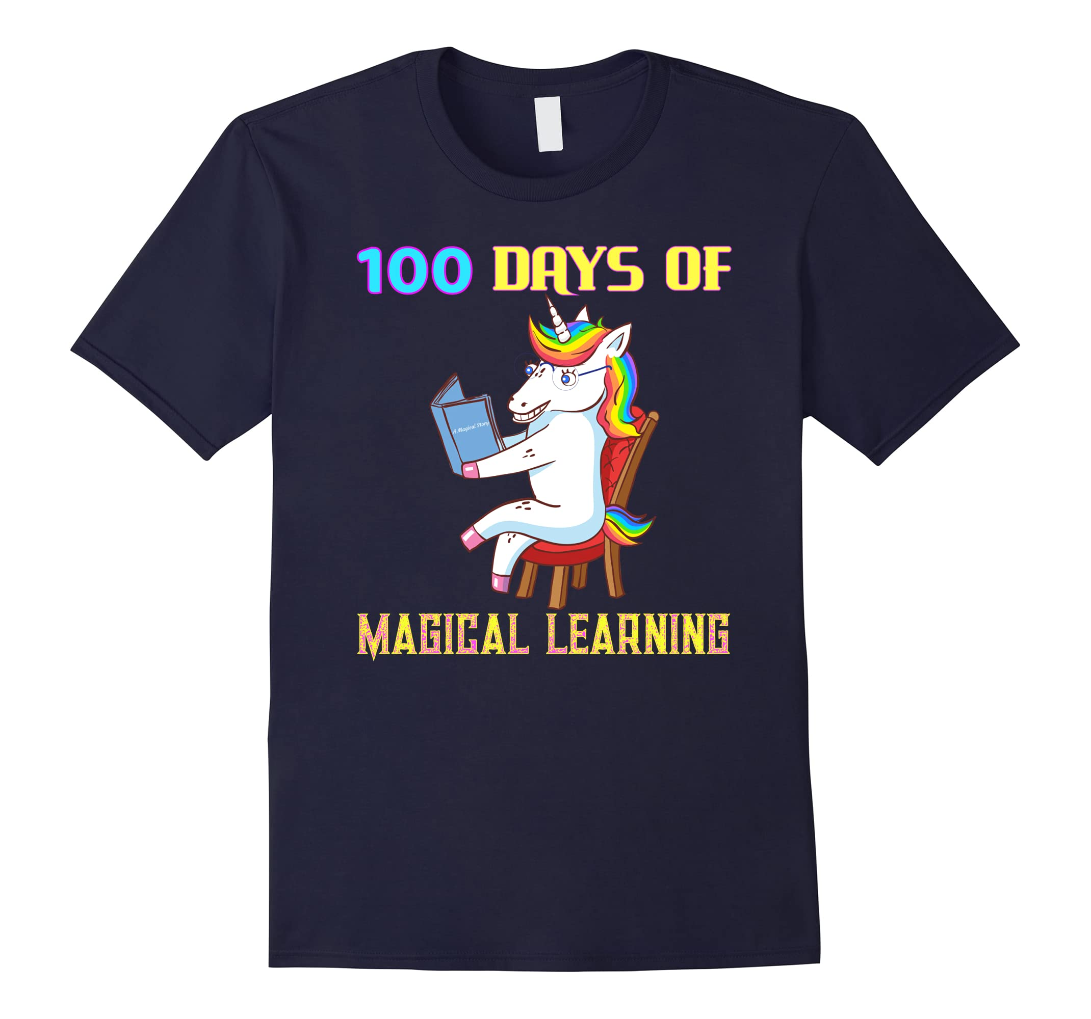 100th Day of School Unicorn Teacher with Book Gift Shirt-ah my shirt one gift