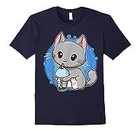 Kawaii Japanese Anime Cat Bubble Tea - Neko Kitty T-shirt Navy