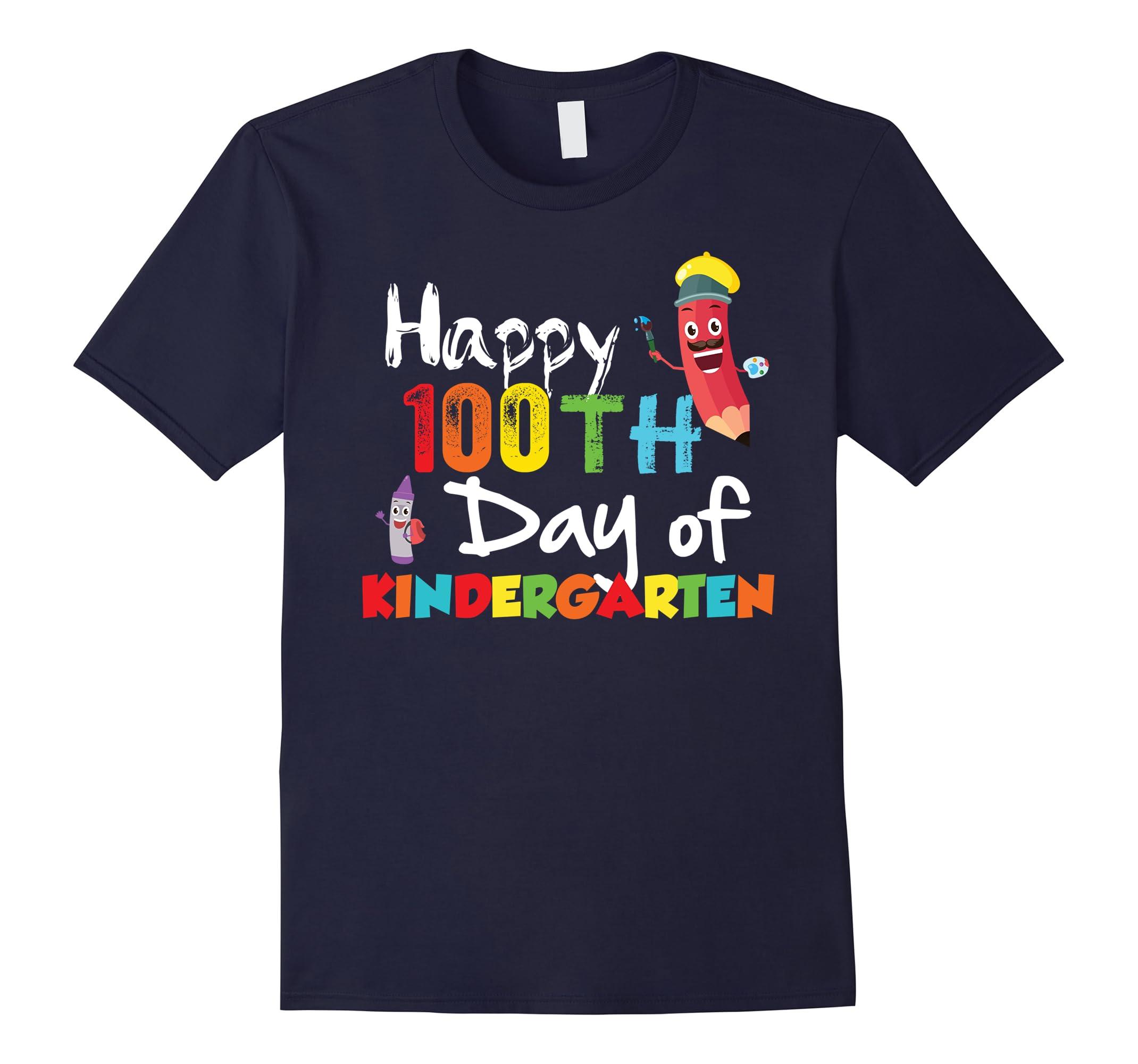 Adorable Happy 100th Day of Kindergarten Teacher Shirt-ah my shirt one gift