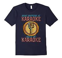 Karaoke Music Gifts Sing Music Bar Singer Vegas Style Mic Shirts Navy