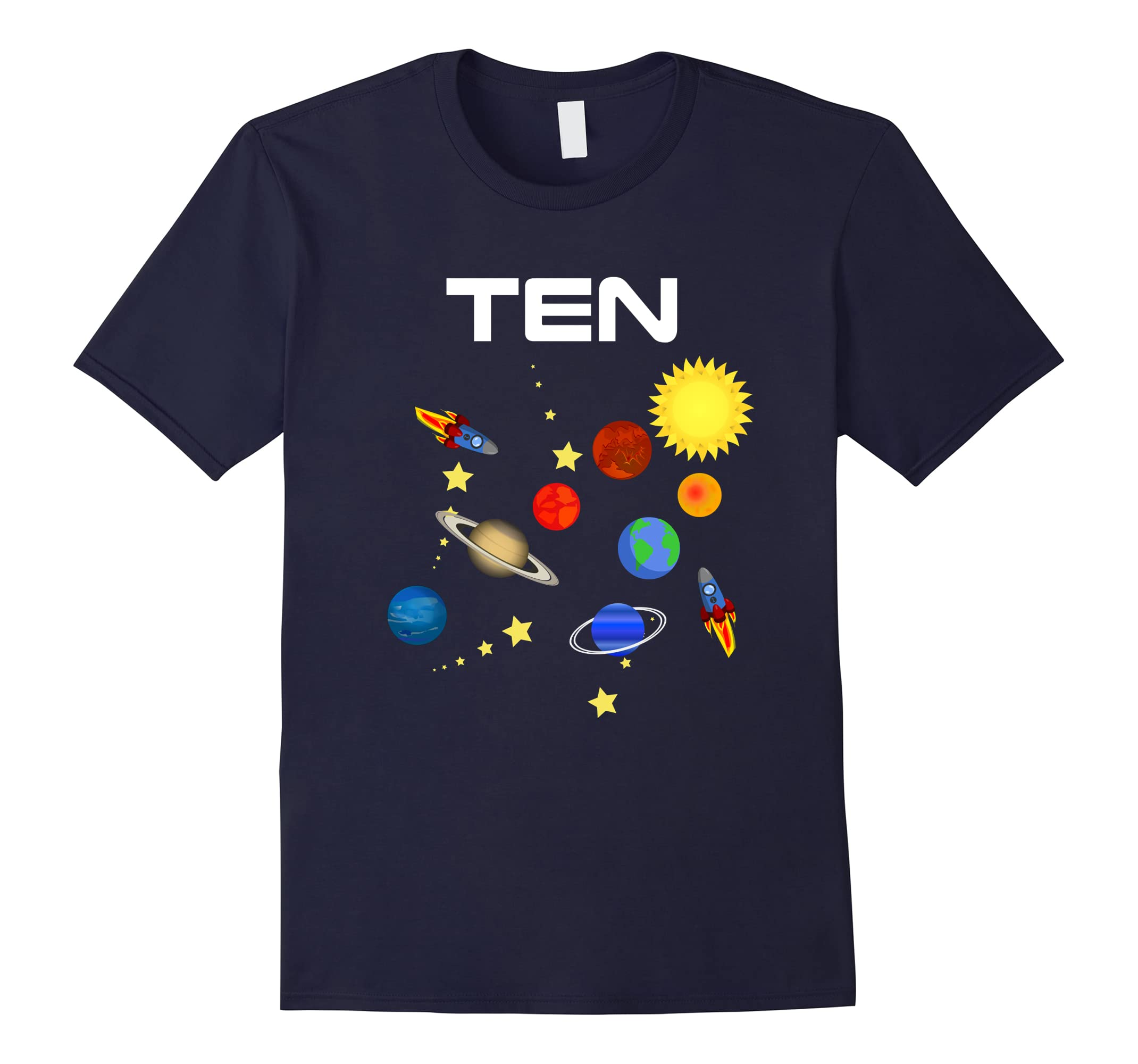10 Year Old Outer Space Birthday Party 10th Birthday T-Shirt-ah my shirt one gift