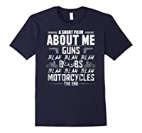 A Short Poem About Me Gun Motorcycles The End Shirts Navy