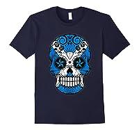 Scottish Flag Sugar Skull Shirts Navy