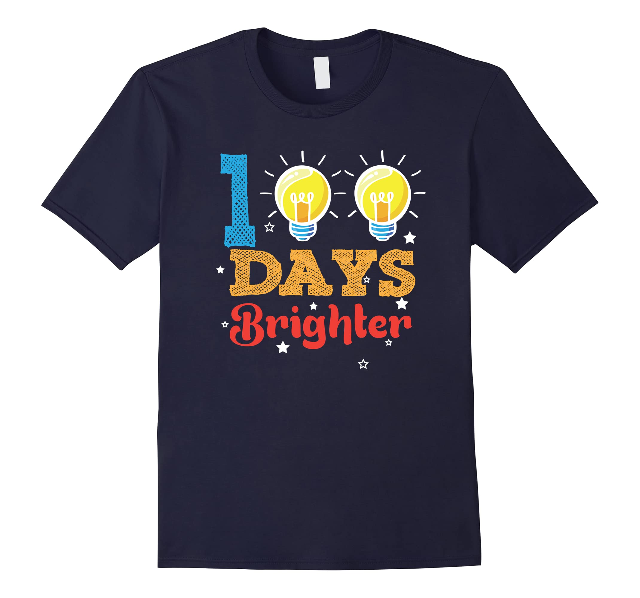 100 Days Brighter 100th Day Teachers and Kids T-Shirt-RT