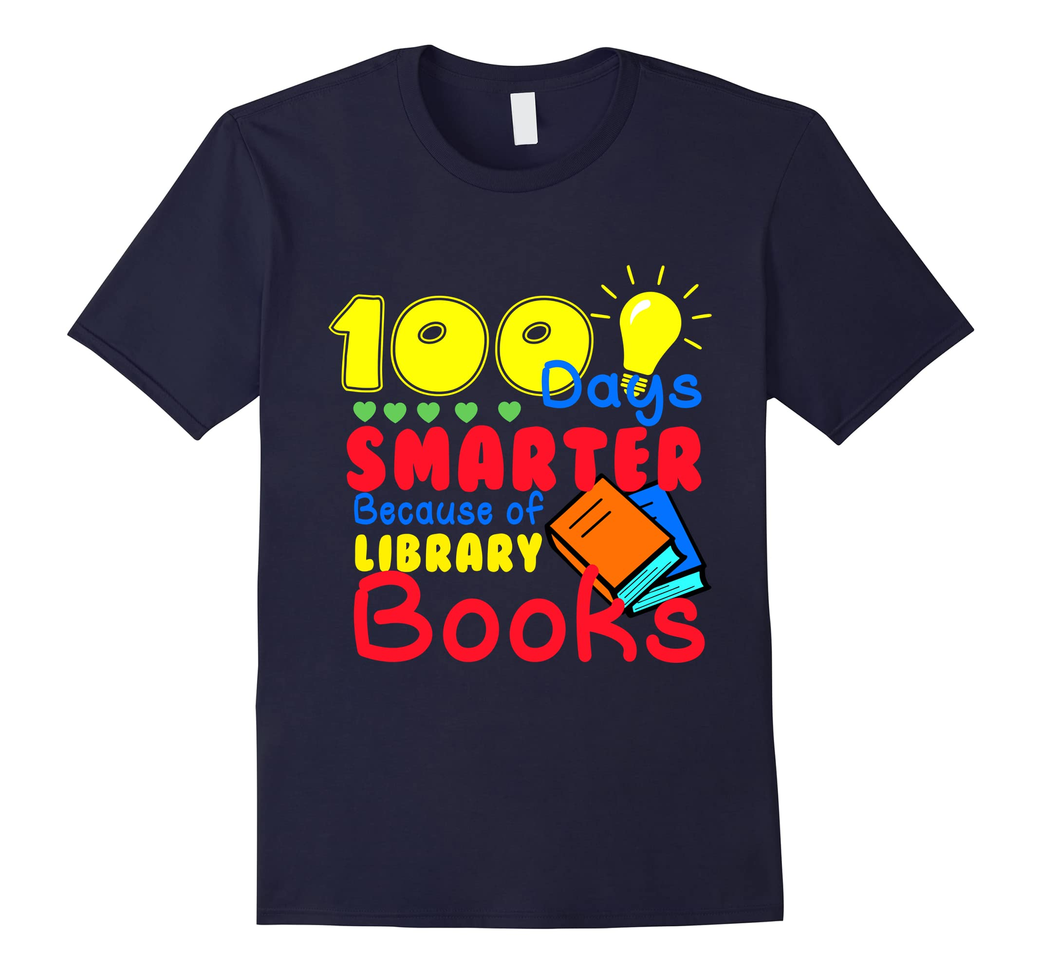 100 Days Smarter Because of Library Books Kids Tshirt-ah my shirt one gift
